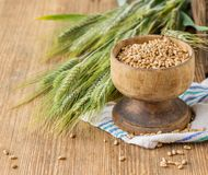 Ears of barley and wheat on the wooden background Royalty Free Stock Image