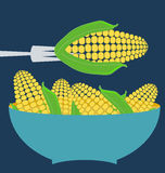 Ears of corn. Blue plate concept royalty free illustration