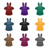 Ears of a hare in a hat. Foci.Party and parties single icon in black style vector symbol stock illustration. Royalty Free Stock Images