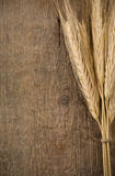Ears spike of wheat on wood Royalty Free Stock Photos