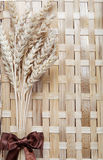 Ears spike of wheat on wood texture. Background Royalty Free Stock Photography