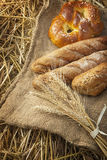 Ears of wheat and bread Stock Image