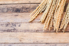 Ears of wheat on a brown wooden background Royalty Free Stock Images