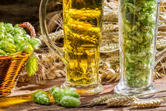 Ears of wheat in the golden fresh beer Stock Photography