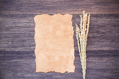 Ears of wheat and old paper on dark wooden table background royalty free stock images