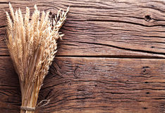 Ears of wheat on old wood. Stock Photo