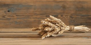 Sheaf of wheat as bread gifts of warm summer. Ears of wheat on old wooden table Stock Photography