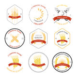 Ears of wheat and rye set labels, badges Royalty Free Stock Image