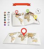 Eartgh maps set with weather icons Stock Photography