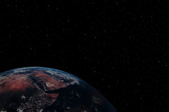 Earth 10. A simple background of the earth and stars at night in the sky of our own universe stock images