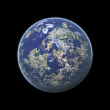 Earth. Looking planet render with thin atmosphere and small shadow Royalty Free Stock Images