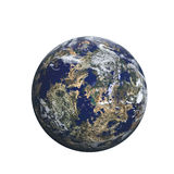 Earth. Looking planet render on white Stock Photo