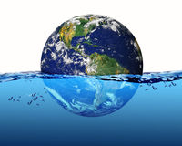 Earth. Planet Earth  in water with waves Stock Photo