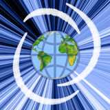 Earth. Globe, blue radial rays and white bands Stock Illustration