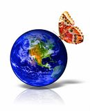 Earth. Image of Earth with red butterfly on it vector illustration