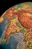 Earth. Globe illuminated, focus on india Stock Photos