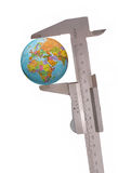 Earth. Isolated caliper measure the earth stock image