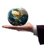 Earth. Business men holding earth in his hend on white concept