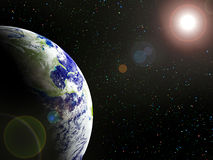 The Earth. The planet Earth in sun beams Royalty Free Stock Image