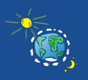 Earth. Illustration of Earth, Sun, Moon Royalty Free Illustration