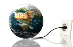 Earth. Planet earth pluged on electricity on white Stock Images