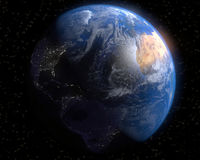 Earth. A view of Earth with day light breaking over the Alantic Ocean Stock Photo