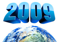 Earth 2009 3D Isolated. 2009 3d text and earth sphere on white background. High resolution Stock Photo