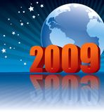 Earth 2009. New Year 2009 and Earth globe on a blue background stock illustration