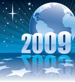 Earth 2009 EU. New Year 2009 and Earth globe on a blue background Stock Photo