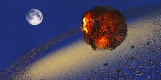 Earth 2012. The Earth lays in ruins after an asteriod hits the planet in 2012 vector illustration