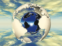 Earth. Hollow earth and metal ball Royalty Free Stock Image
