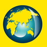 Earth. An illustration of the earth with the land mass in yellow Stock Photo