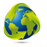 Earth. With arrows with shadow over white background. vector illustration Royalty Free Stock Image
