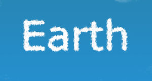 Earth. Planet earth - spelling earth in clouds vector illustration