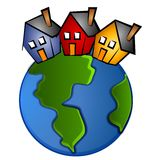 Earth With 3 Houses Clip Art. A clip art illustration of the earth with 3 houses on top - representing the global community or for real estate topics Royalty Free Stock Images