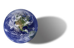 Earth. With Shadow, North America And Pacific royalty free stock photo