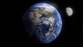Earth. And Moon shot from space vector illustration