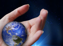 Earth. The earth on our hand royalty free stock images