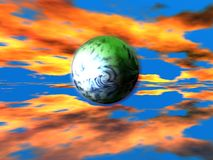 Earth 3d. Flying in red space Stock Photography