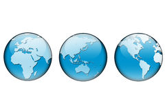 Earth #4. An illustration of the world showed under three different angles. On a white background Stock Image