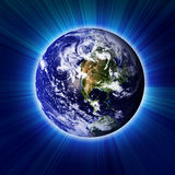 Earth. In dark outer space Stock Photos
