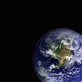 Earth. Globe against a black background Stock Photos