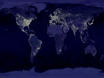 Earth. An  earth map with his lights Stock Photo
