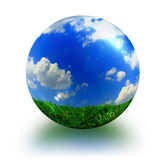 Earth. Abstract picture about sphere with blue sky, white clouds and green grass royalty free illustration