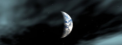 The Earth. This is the moon and the Earth in the nightime sky Royalty Free Stock Image