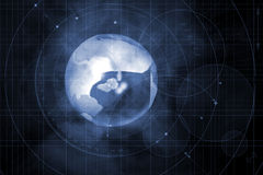 Earth. Illustration of the earth in space with lines and circle drawings Stock Photo