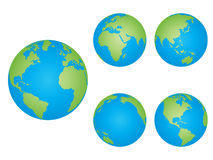 Earth. Isolated world globes in different positions Royalty Free Stock Photo