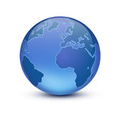 Earth. Shiny blue globe created in Photoshop Stock Image