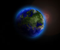 Earth. Planet earth in deep space with bright blue atmoshere Royalty Free Stock Photo