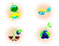 Earth. 4 types of cartoon of earth Royalty Free Stock Images